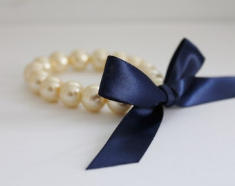 Cream Pearl and Navy Ribbon Bracelet