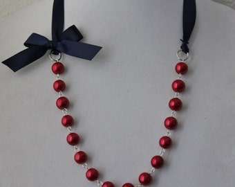 Red Pearl and Navy Ribbon Bow Necklace