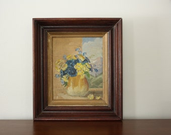 Vintage Floral Still Life Oil Painting in Thick Wood Frame