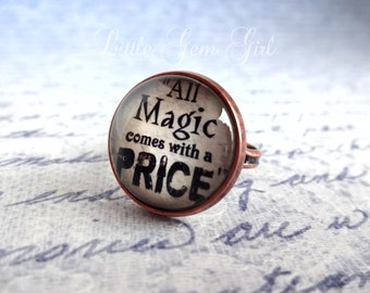 All Magic Comes with a Price Ring - Once Upon a Time Jewelry - Vintage Copper Antique Style Quote Jewelry - Fairytale Quote Rumpelstiltskin