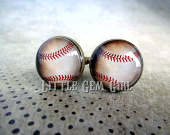 Baseball Cuff Links - Aged Antique Brass Bronze Cufflinks - Wedding Groom Gift - Vintage Style for Sports Coach- Gold, Silver, and Stainless