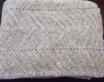 Chevron Baby Afghan Blanket of Green white And Blue In A Ripple Pattern 87 x 51 Huge