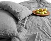Pillow sham Taupe Gray color pure Linen Flax - Washed Softened Medium weight - Standard Queen King Euro - All size