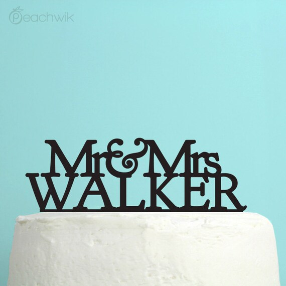 Personalized Wedding Cake Topper Monogram Initials By Peachwik