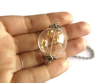 Gold flake floating glass ball necklace