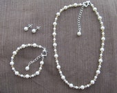Flower Girl Jewelry White or Ivory Swarovski Pearls and Choose Your Color Crystals Bridal Jewelry Set
