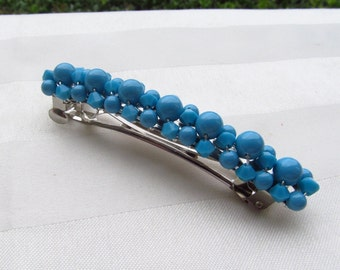 Turquoise Swarovski Crystal and Pearl Barrette Choose Your Size