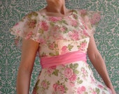 60s 70s Pink Green Rose Garden Maxi Dress Spring Fashion Empire Line Small