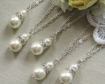 SET of 7  bridesmaid necklace, rhinestone necklaces bridesmaid gifts wedding pearl jewelry - W004 white ivory pearl custom