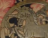 Tuff Unicorn Vintage Brass Unicorn Trivet Table Decor