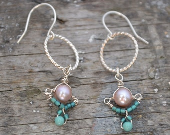 READY TO SHIP Sterling Silver, Lavender Pearl, Seed Beads, and Swarovski Dangly Earrings