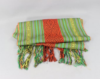 SALE Vintage Scarf / Woven Tribal Fringed Neckwear