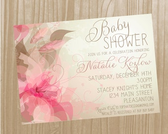 Floral Baby Girl Shower Invitation- Digital