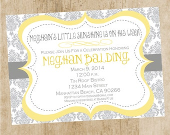 White, Gray, Yellow Baby Shower or Bridal Shower Invitation- Printable (You are my Sunshine)