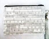 SALE -- Sheet Music Wristlet / Music Notes Clutch Purse