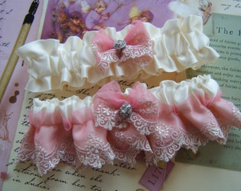 Beautiful Soft Pink Lace on Off White Satin Garter Set