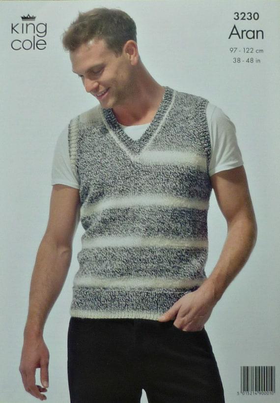 Mens Knitting Pattern K3230 Mens V Neck Sleeveless Jumper Mens