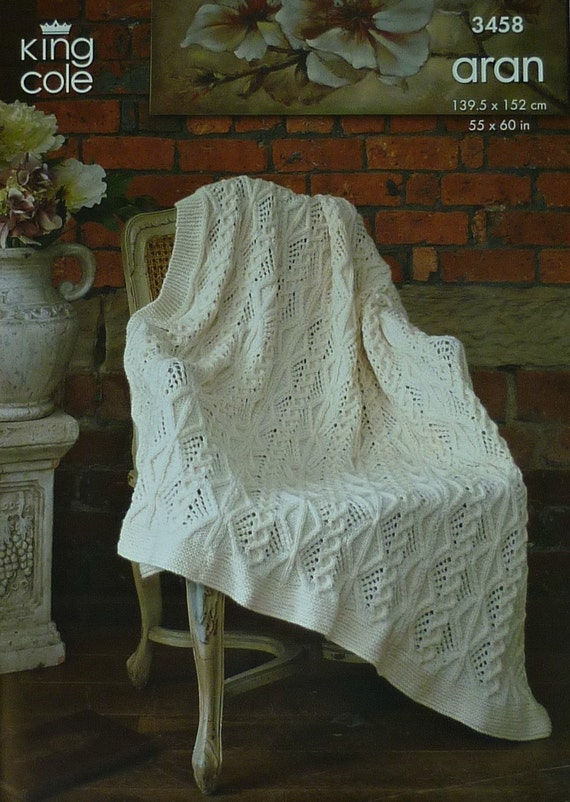 Lace Afghan Knitting Pattern : Blanket Knitting Pattern K3458 Lace & Cable design