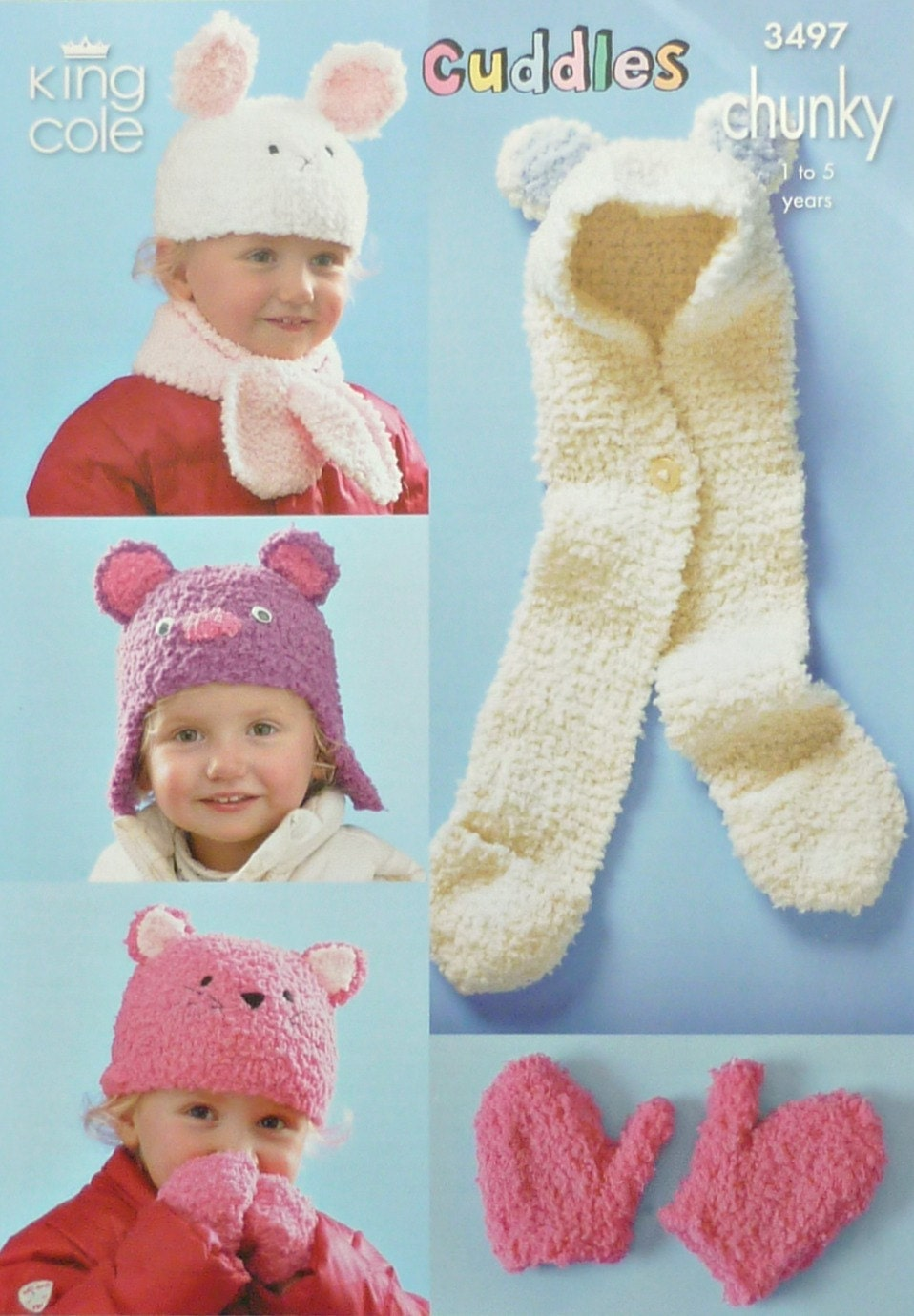 Knitting Patterns Childrens Hats Mittens : Childrens Hat Knitting Pattern K3497 Childrens Assorted Hats, Mittens & S...