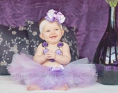Lovely Lavender Tutu Skirt -  Ruffled Truffles Collection - matching hair-bow & headband Wedding, Birthday, Girls, Infant Tutu,
