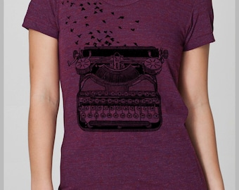 Gift for her Vintage Typewriter with Birds T Shirt  - Freedom of Speech Women's Tee Writers American Apparel  Back to school
