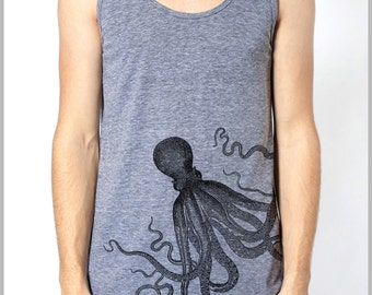 Octopus Tank Top American Apparel Men's Women's Tank Top Athletic Grey