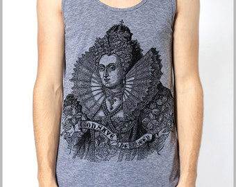 Men's Women's Tank Top American Apparel  God Save The Queen Athletic Grey