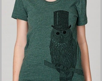 Women's Owl T Shirt American Apparel tee Hand Drawn Eco Friendly Summer Fashion s, m, l, xl 8 COLORS