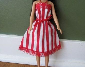 Handmade Barbie Sundress - Red and White Stripe