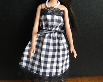 Handmade Barbie Sundress - Black and White