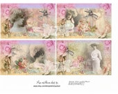 Digital collage sheet, vintage, Lace and Flowers sheet 10, instant download, lace, sepia, women, florals