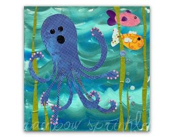 Children's Wall Art Print 12x12- octopus, fish, ocean, under the sea, Kids Art, Kids Room, Nursery Art, Nursery Room Decor