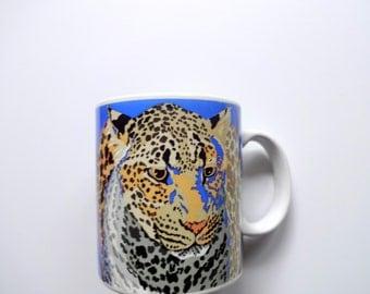 Vintage Otagiri Lady Leopard Coffee Mug 1980s