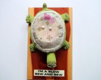 Vintage Turtle Pin Cushion Souvenir 1970s