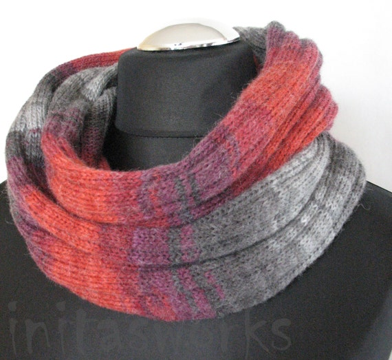 Red Striped Infinity Scarf Cowl Wrap Burgundy Gray