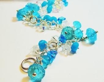 Sterling Silver Bracelet Turquoise Delight Swarovski Crystal Lampwork Glass