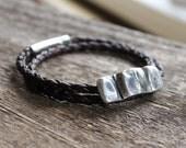 Leather & Silver Horizontal Fingerprint Bracelet - Modern Unisex Wrap Bracelet