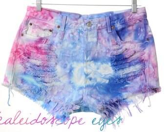 Vintage Levis 501 MARBLED Colorful Dyed Denim Destroyed High Waist Cut Off Shorts XL XXL