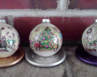Vintage Christmas Mice Corning Ornaments Set of 6 with Original Box
