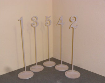"3"" number on a stem 15"" Tall 1-20 Wooden Table Numbers with base base  MDF"