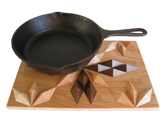 Natural Wood Trivet.  3 D Hardwood Hot Pan Pad.