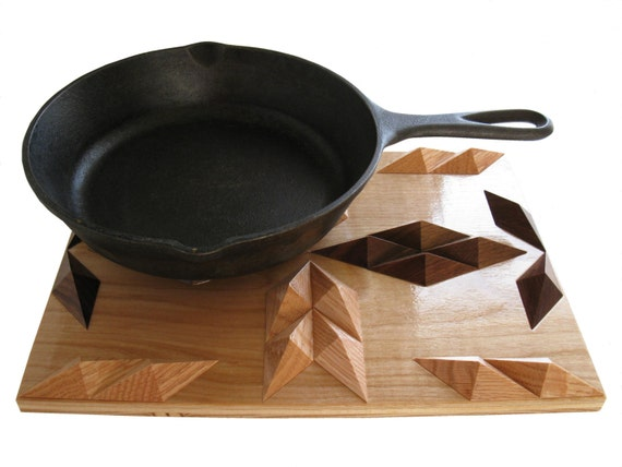 Wood Hot Pad. 3D wood art,  kitchen trivet. Woodwork decor centerpiece