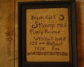 Black Cats, skinny rats, finely pointed witches hats  Halloween Cross stitch Sampler Pattern