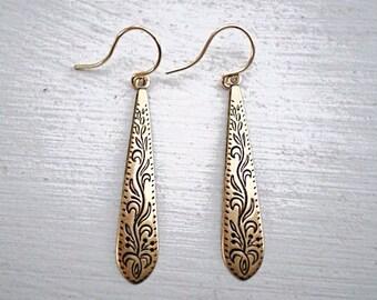 Antique Gold Earrings/Boho Earrings/Dangle Earrings/Bohemian Earrings/Dainty Earrings/Etched Earrings/Bohemian Earrings/Drop Earrings/Boho