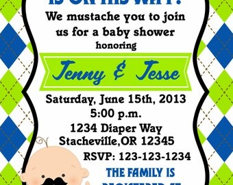 Little Man Mustache Baby Shower Invitation 5x7 or 4x6 Print Your Own