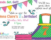 Waterslide Birthday Invitation Printable party invite by Luv Bug Design