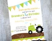 Tractor Invitation Printable Birthday Party invites by Luv Bug Design