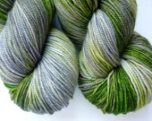 Hand Dyed Sock Yarn - Superwash Merino Fingering Weight in Don't Blink Colorway