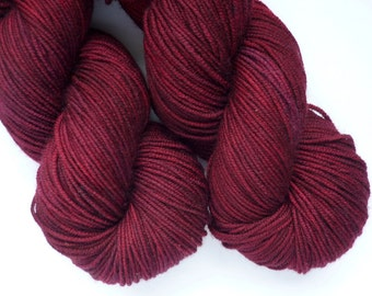 Hand Dyed Superwash Merino Sport Weight Yarn in Cranberry Bog Colorway