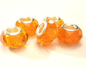 5  Orange Glass, Faceted / Crystal Cut European Charm Bracelet  Beads - Euro Big Hole Beads